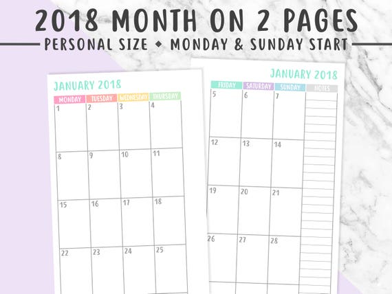 Personal  Monthly Planner Printable Month On  Pages