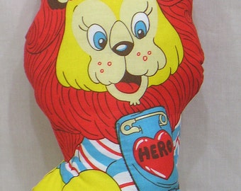 Stuffed Toy Cotton Lion Red Mane Hero Badge on Front