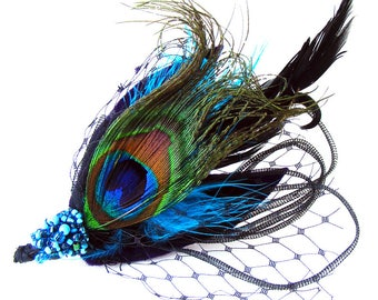 """HAIR Clip Peacock Blue Fantasy """"Bessie"""" for Dressing up, Party, Prom, Evening Adorned with Feathers, Ribbons, Beads with Sheer Veiling"""