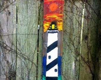 "Sunset Lighthouse OIL Painting Reclaimed Barn Wood Light House ART By Scott D Van Osdol Coastal Nautical Barnwood Light House 5.25x28"""