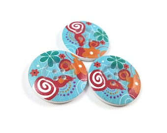 1.5 inch buttons - Tropical flowers wooden sewing buttons - set of 3