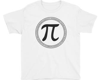 Pi Day Clothes Funny Math Nerd Youth Short Sleeve T-Shirt