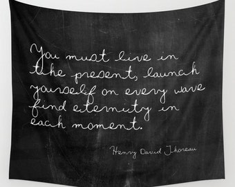 Tapestry - Nature Tapestry - Thoreau Quote - Henry David Thoreau - Black and White - Inspirational Quote - Ocean Decor - Beach House Decor
