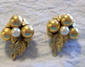 Vintage Gold Leaf  Beads and Pearl Earrings by ART