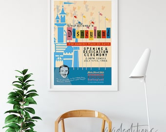 Disneyland Poster, Vintage Happiest Place On Earth Attraction Poster, Art Print, Nursery, Kids Room, Baby, Home Decor, Wall Art, Not Framed