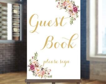 Printable wedding sign, Wedding guest book sign, Boho guest book sign, Gold guest book sign, Guest book sign, Custom sign, Guest book