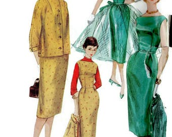 Simplicity 1395 Sewing Pattern Vintage 1950s Garden Tea Swing Dress Full Circle Skirt Cropped Jacket Size 14