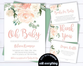 Baby shower invitation etsy floral baby shower invitation template floral watercolor baby shower invite girl baby shower flower invitation greenery filmwisefo Images