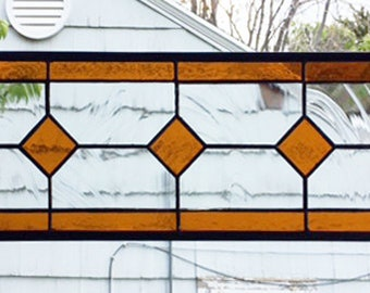 "Stained Glass Window Panel--Geometric Amber and Clear--6.5"" x 18.5"""
