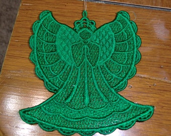 Embroidered Ornament - Christmas - Green  Angel