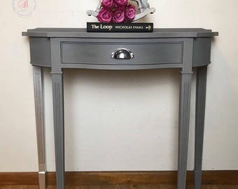half table for hallway. SOLD Demi Lune, Half Moon Table, Hallway Hand Painted, Table For N