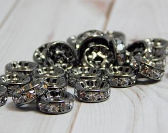 10mm - Rhinestone Rondelle - Gunmetal Spacer Beads - Crystal Rhinestone - Crystal Spacers - Rhinestone Spacer Beads - 25 or 50pcs - (B682)