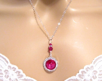Fuchsia Bridesmaids Necklace: Swarovski Hot Pink Crystal Necklace Sterling Silver Pink Bridal Necklace Pink Wedding Jewelry Bridesmaids Gift
