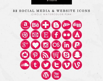32 Round/Circle Watercolor Pink/Bright Pink Website/Blog + Social Media Icons Pack