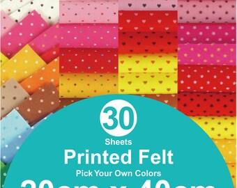 30 Printed Felt Sheets - 20cm x 40cm per sheet - pick your own colors (PR20x40)