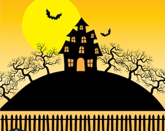 Halloween Clip Art - Haunted House - Creepy Mansion and Trees