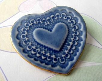 Blue Porcelain Heart Pin