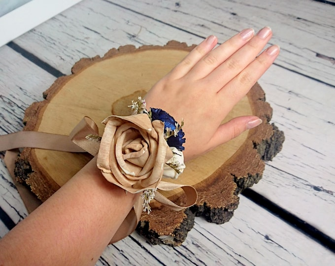 Caramel navy ivory rustic wedding Rustic WRIST CORSAGE bridesmaids mother Sola Flower dried flower burlap satin ribbon elegant