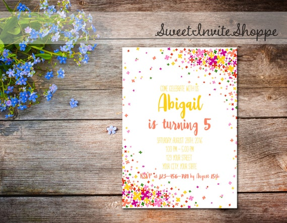 Confetti birthday party invitation colorful floral confetti like this item filmwisefo Gallery