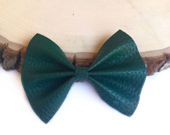 Hunter green fax leather bow
