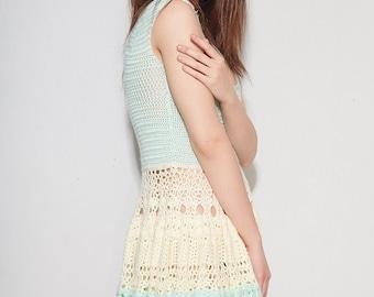 Summer Mint Princess - Mint & Yellow Summer Dress