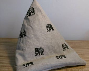 iPad Bean bag stand for ipad Kindle book or tablet.  tablet beanbag stand cushion iPad seat. Elephant print on Beige Linen