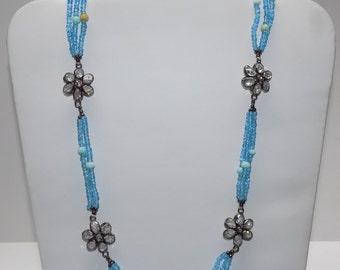 Blue Quatz, Larimar & Zircon Long Necklace in .925 Sterling Silver