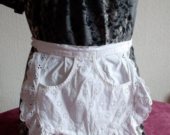 Beautiful apron with ruffle and covered with embroidery vintage