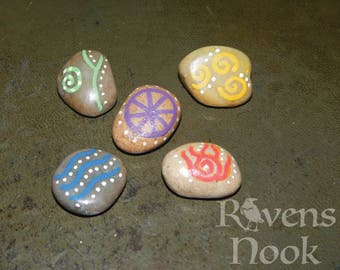 Hand Painted Elemental Stones .Earth,Air,Fire,Water and Spirit.