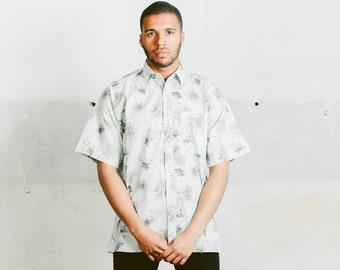 Patterned Summer Shirt . Vintage Mens Short Sleeve Mint Green 90s Shirt Casual Summer Shirt Cruise Outfit Boyfriend Shirt . size Medium M