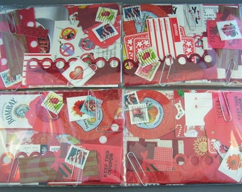 Red Papercraft Scrap Pack Creativity Kit  // Scrapbooking, Cardmaking, Collage, and Art Journaling Supplies // Paper Destash