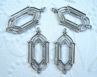 Antique silver plated Art Deco 2 ring connector earring drop, lot of (4) - JJ247