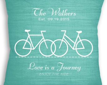 Love is a Journey - Bicycle - Custom Name Date Bike Pillow with Insert - Personalized Wedding Gift - Bike Wedding Gift - Mr & Mrs Bike Rider