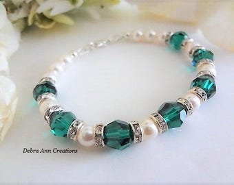 May Birthstone Bracelet Emerald Birthstone Jewelry for May Birthday Gift For Her Emerald Jewelry for Mom Swarovski Emerald Crystal Bracelet