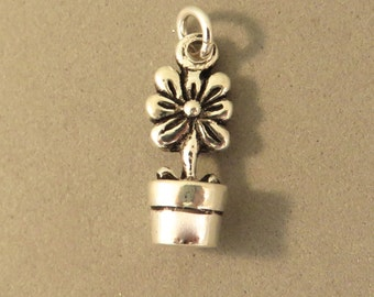 Sterling Silver 3-D DAISY IN POT Charm Pendant Flower Plant Garden Blossoms Bloom .925 Sterling Silver New ga58