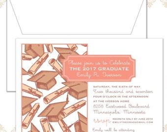 Modern Graduation Announcement, Grad Hat Invite, Graduation Patten, Modern Grad Party Invite, Unisex grad Invite, Graduation Announcement