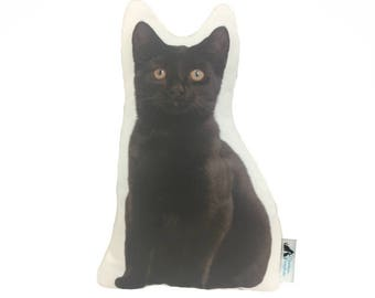 Black Bombay Shaped Cat Cushion, Customize With Name/Lettering Handmade By Creature Comforts Direct, Cat Pillow, Animal Cushion, Cat Gift