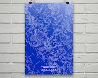 Vinson Massif Poster, Vinson Massif Antarctica, Vinson Massif Map Art, Vinson Massif Contour Map, Vinson Massif Topo, Contour Map, Topo Map