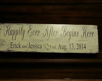 Happily Ever After Begins Here- Wedding Sign With Names and Date