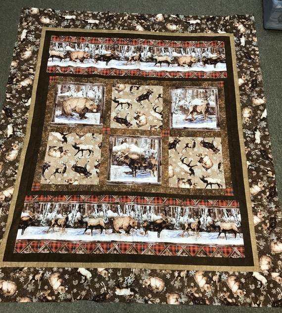 Northern Woods Elk Bear Quilt Top Brown Snow Woods by Northcott Outdoors Hunting