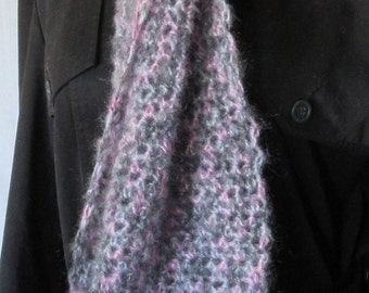 Pink and Gray Mohair Wool Scaf, 88 x 10, Extra Long Neckscarf Easter Spring Womans Birthday Gift Crochet knit, Fluffy Warm Fashion Trending