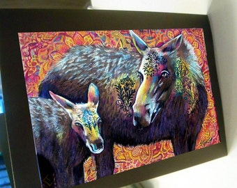 greeting card print of originlal drawing leathered moose colorful zentangle