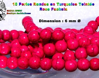 20 round beads Native American Turquoise Tibetan dyed pink 6 mm