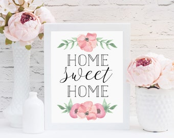 Home Sweet Home Print, Floral Watercolor Print, Home Decor, Instant Download, Watercolor Art, Typography Art