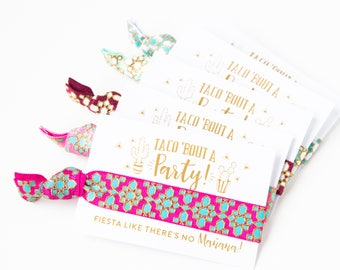 Fiesta Like There's No Manana | Fiesta Birthday Favors, Bachelorette Party Favors, Colorful Gold Fiesta Bachelorette Party Hair Tie Favors