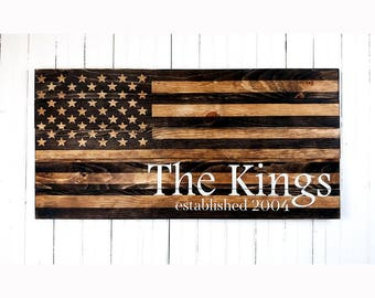 Family Name Wooden American Flag, Rustic American Flag, Last Name and Year Established, Wedding Gift for Couple, Front Porch Wood Flag