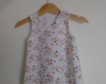 Beautiful Floral White Superior Cotton Pinafore Dress
