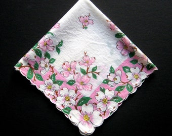 Vintage Handkerchief - Dogwood Flowers, Spring or Summer Handkerchief, Vintage Hankie, Vintage Hanky, Floral, Pink, Cotton, Collectible