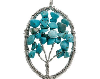 Turquoise natural pendant tree of life wire wrapped copper 58mm x 40mm