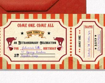 Circus printable invitation, Circus ticket invitation, Carnival invitation, Circus party ticket, circus baby birthday, circus birthday